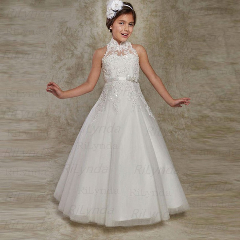 White Ivory Flower Girl Dress First Communion Dresses For Girls Beaded Applique Kids Holy Communion Party Gown