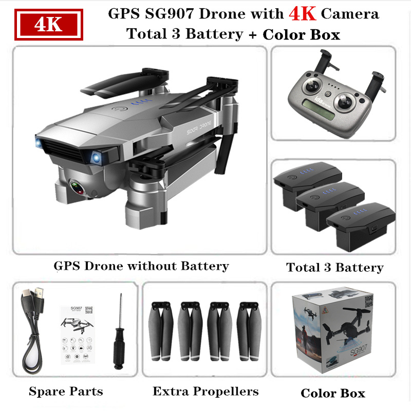 ZLRC SG907 RC GPS Drone with 5G WiFi 90° Electric Adjustment 4K Camera Follow Me Quadrocopter Foldable Quadcopter VS S167 E520S