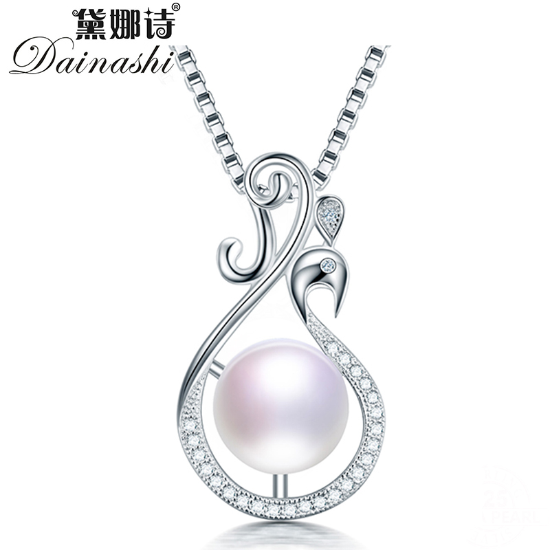 Dainashi 100% Genuine Freshwater Cultured Pearl High Quality 925 Sterling Silver Zircon Peacock Pendant Necklace Women Hot Sale