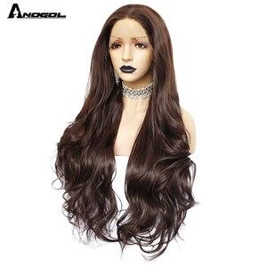 Image 2 - Аногол темно коричневые натуральные волнистые прямые парики для женщин термостойкие высокотемпературные синтетические парики с кружевом спереди