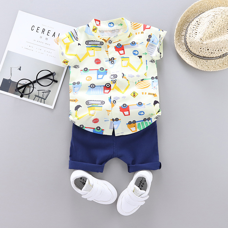 Toddler Boys Clothing Set Summer Baby Cotton Printed Children Kid Clothes Sets 2pcs Children Holiday Costume 1 2 3 4 Year Gift