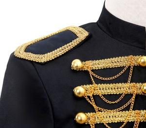Image 5 - スチームパンク王子衣装軍事タッセルチェーンハロウィンジャケットコート歌手ポップスターブレザースーツ王室ための男性黒
