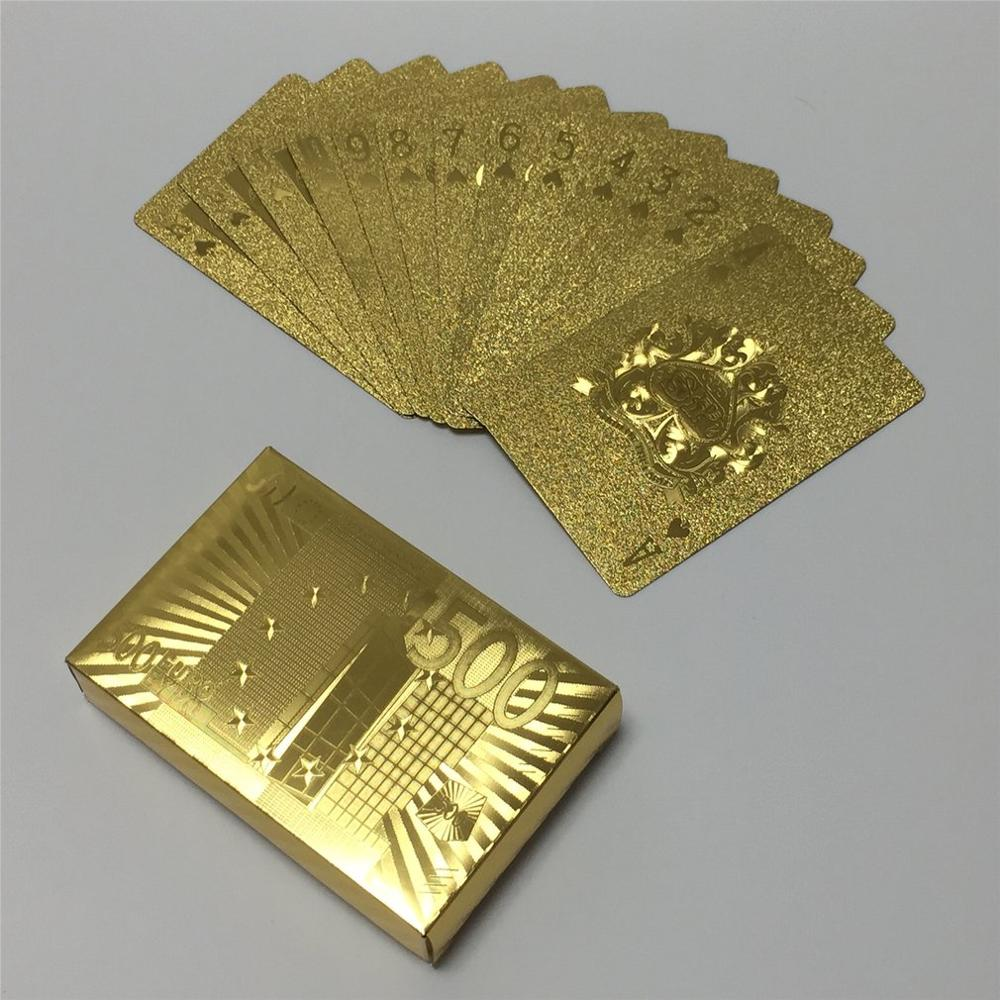 Gold Playing Cards Poker Game Deck Gold Foil Poker Set Plastic Magic Card Waterproof Cards Magic