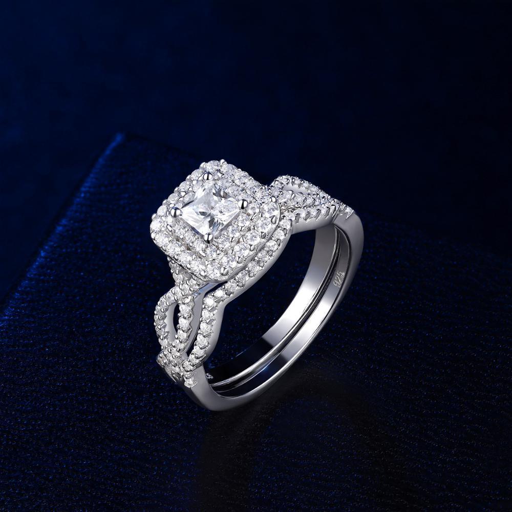 Newshe solide 925 en argent Sterling anneaux de mariage pour les femmes Double Halo princesse coupe AAA Zircon bague de fiançailles ensemble de mariée BR0979 3