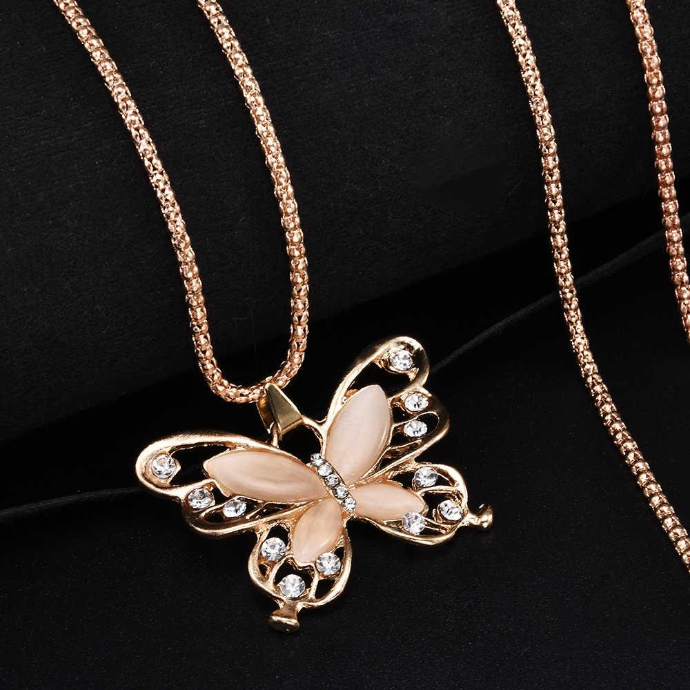 Rose Gold คริสตัล 4 ซม.ผีเสื้อขนาดใหญ่จี้สร้อยคอยาว 70 ซม.สร้อยคอเครื่องประดับสำหรับผู้หญิง