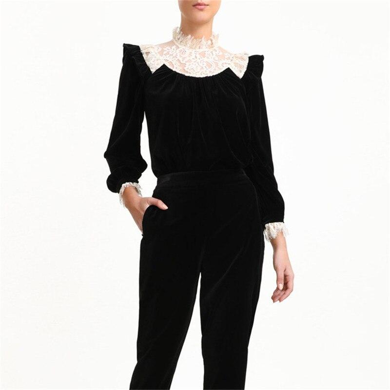 Zimmermann nouvelle dentelle couture mode noir Bottoming femmes chemise à manches longues col montant avec nœud Slim chemise femme