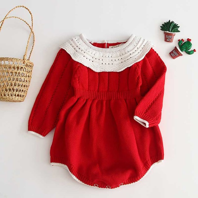 Baby Girls Knitting Romper 2019 Autumn Red Girl Clothes Newborn Baby Girl Clothes Fashion Knitted Romper Overalls Autumn Sweater