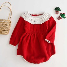 Baby Girls Knitting Romper 2019 Autumn Red Girl Clothes Newborn Baby Girl Clothe