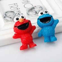Sésamo rua elmo e cookie monstro chaveiro boneca dos desenhos animados chaveiros carro mochila chaveiro bonito chave fivela