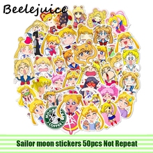 50pcs Sailor moon paster stickers Cartoon characters anime decals scrapbooking diy decoration phone laptop waterproof