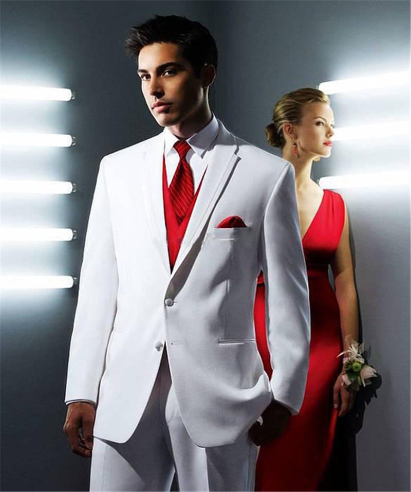 Formal White 3pieces Mens Wedding Tuxedos With Red Vest Custom Spring Male Party Dress Country Outside Suit (Jacket+Pants+Vest)