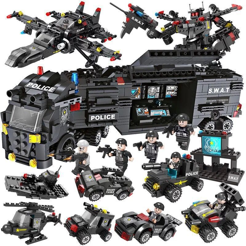 Special Police Team Helicopter Tank Armored Vehicle Blocks Full Set Of Children Assembling Building Blocks Educational Toys Gift