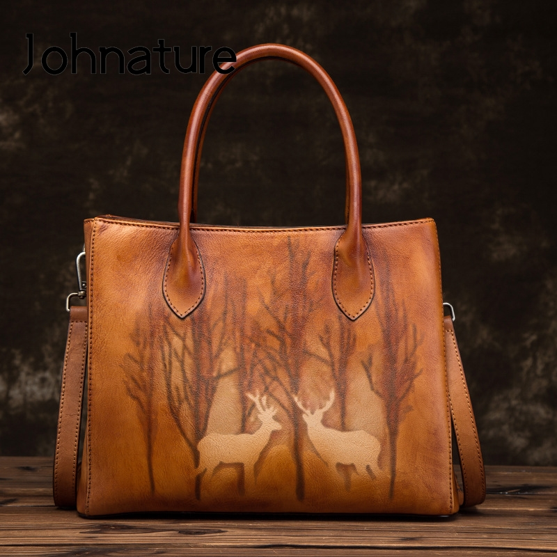 Johnature Luxury Handbags Genuine Leather Large Capacity Casual Tote 2020 New Vintage Animal Prints Shoulder & Crossbody Bags