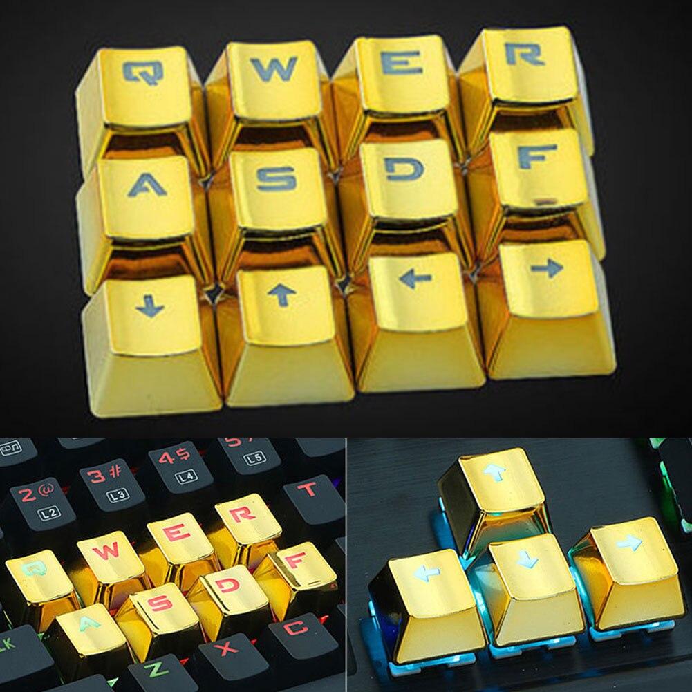 12PCS/set Gold Keyboard Keycap Universal Backlight Mechanical Keyboard Replacement Button QWERASDF Alphabet Keyboard Button