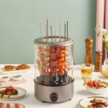 Electric Grill Barbecue Machine Timing Household Autorotation Kebab Machine Small smoke-free BBQ Maker Doner Meat Kabob Cooker manual satay skewer machine grilling bbq tools stainless steel mutton kebab lamb skewer doner kebab meat wear string machine