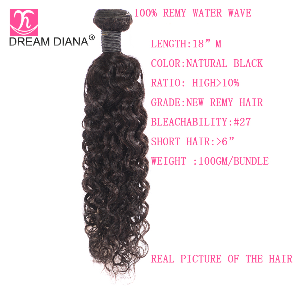 Image 3 - DreamDiana Brazilian Water Wave 1/3 Bundles L Remy Weave Hair Piece Natural Black Color 100% Human Hair Extensions Free ShippingHair Weaves   -