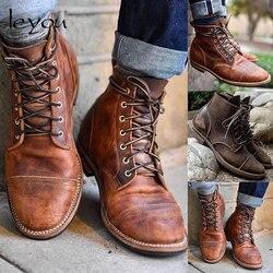 Männer Vintage PU Leder Stiefel Retro Motorrad Schuhe Ankle Lace Up Stiefel Britischen Military Stiefel Herbst Winter Lace Up Schuhe neue
