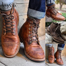Men Vintage PU Leather Boots Retro Motocycle Shoes Ankle Lac