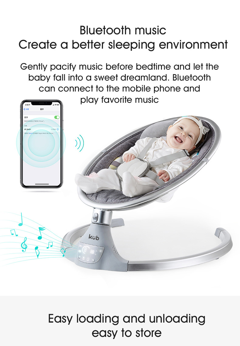 H7f9e1bec6f1c4fe69baccff0695f1b55J KUB Baby electric rocking chair baby cradle chair baby artifact sleepy newborn comfort chair shake with music