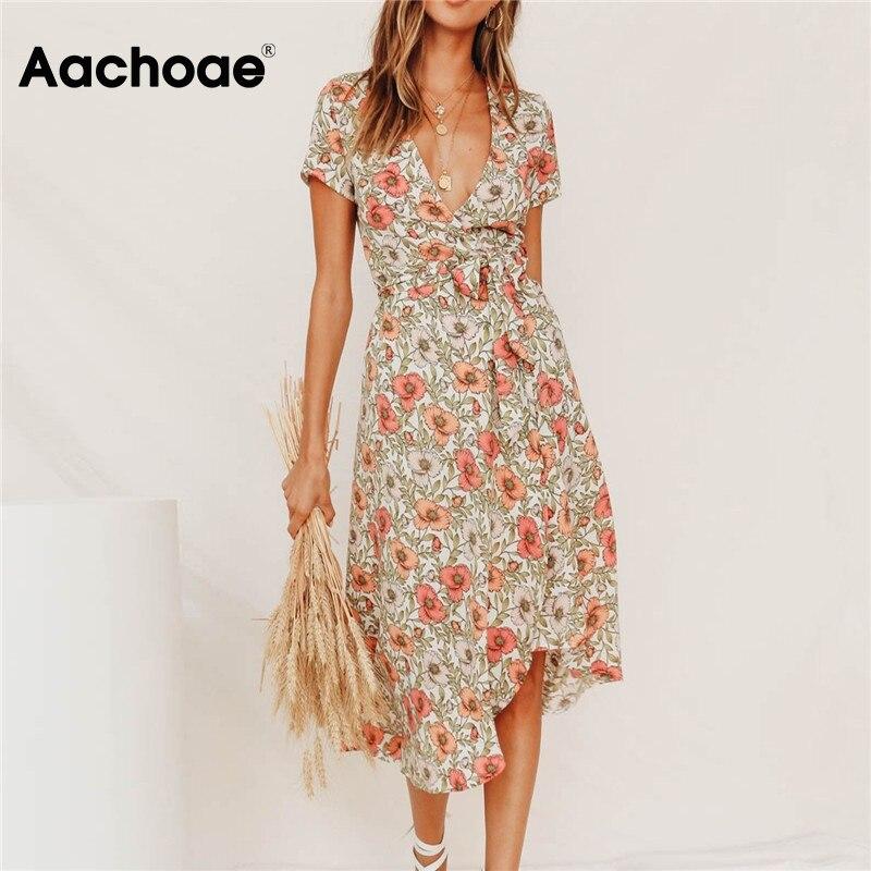 Sexy V Neck Floral Print Spring Summer Dress Women Long Split Boho Beach Dress Short Sleeve Elegant Party Dresses 2020