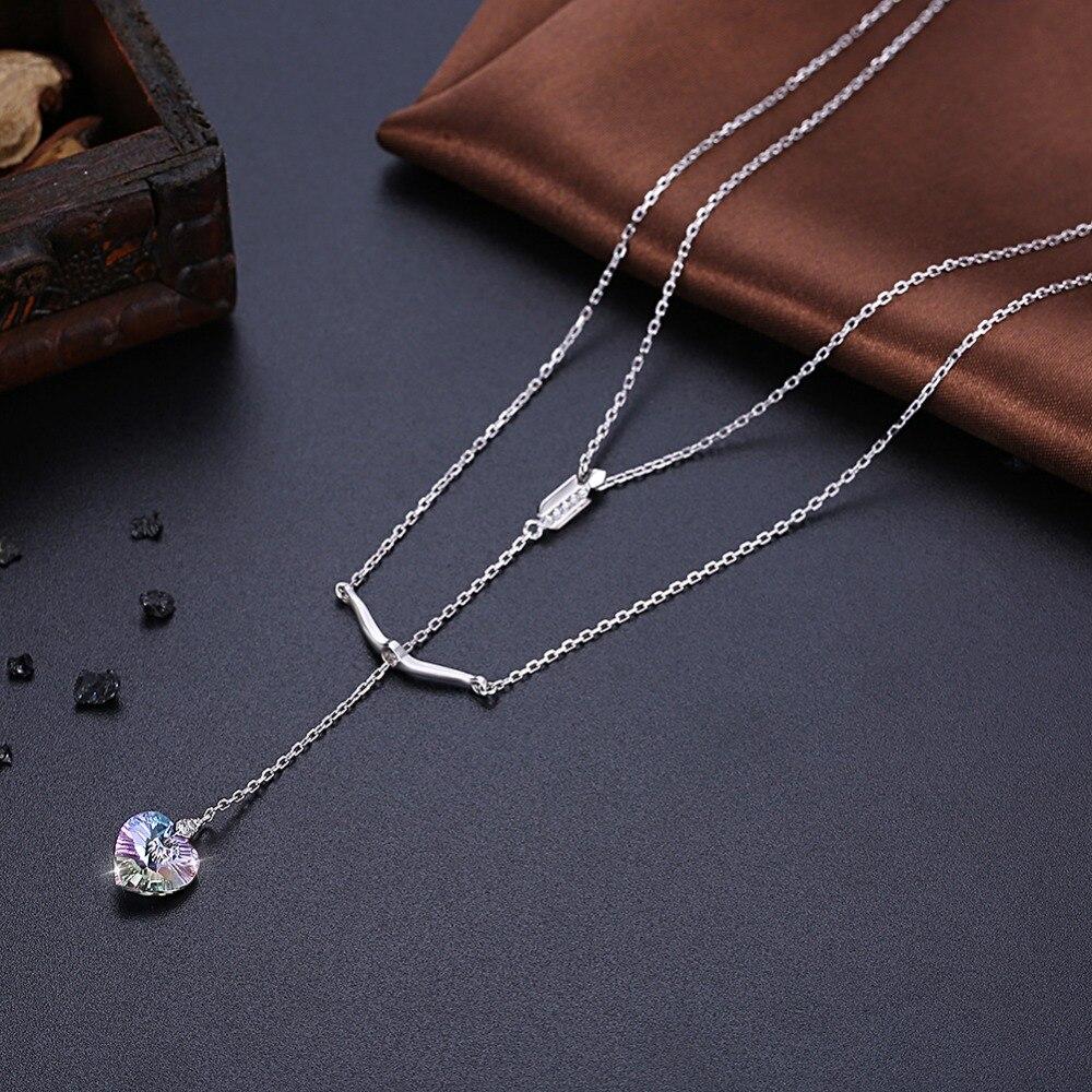 Cupid's Sword Elegant Heart Zirconia Stone Necklace Pendent Sets CLOVER JEWELLERY