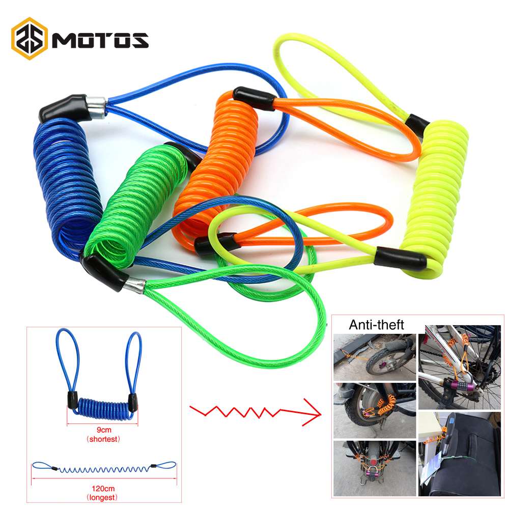 ZS MOTOS 1.2M Safe PVC Cover Motorcycle Disc Lock Cable Anti-theft Spring Portable Bike Anti-Theft Rope Theft Protection