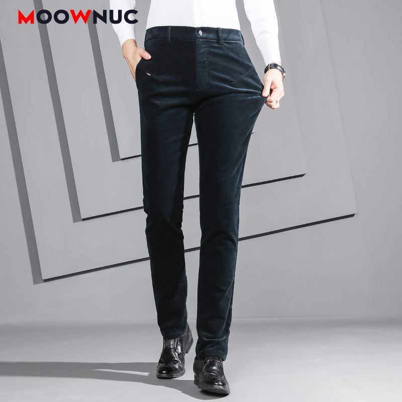 Men's Trousers Straight Autumn Business Fashion Casual Suits Pants Slim Male MOOWNUC New Long Streetwear Solid Elastic Masculino