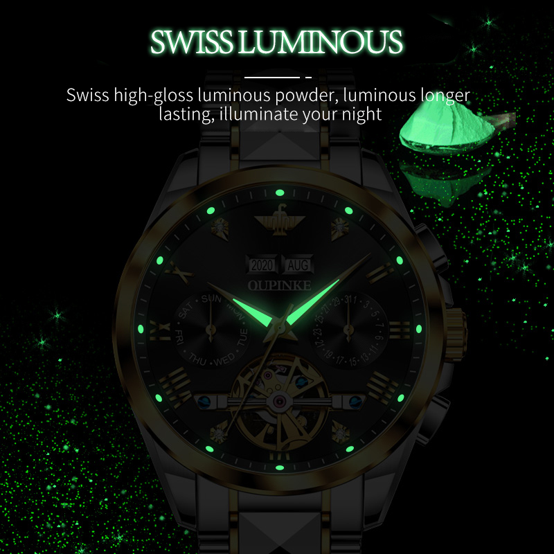 2020 Luxury Men Mechanical Wristwatch Tungsten Steel Tourbillon Watch Sapphire Glass Men Watches reloj hombre OUPINKE Brand 5