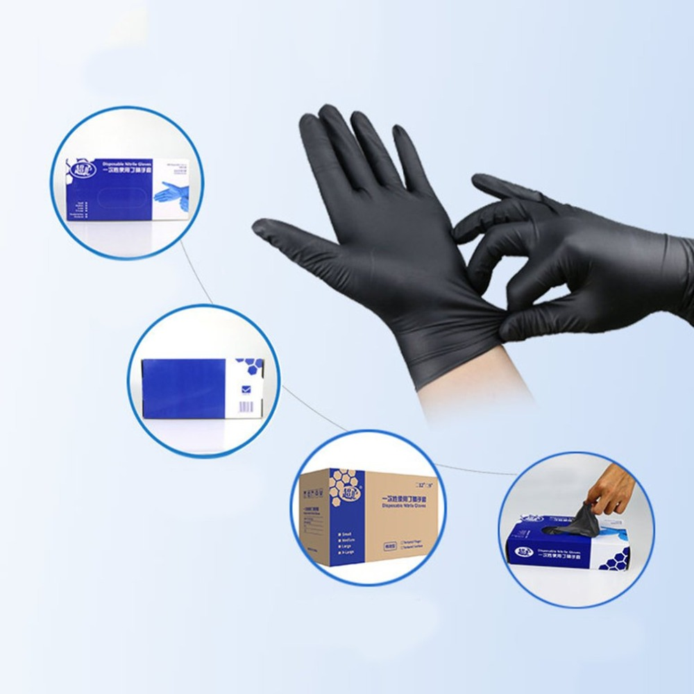 2018 NEW 50 Pair Household Cleaning Washing Disposable Gloves Black Mechanic Nitrile Laboratory Nail Art Anti-Static Gloves