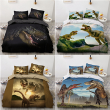 3D Dinosaur Rex Duvet Cover Pillowcases 2pcs Single 3pcs Twin Full Queen King Size Bedding Set Home Textiles All Seasons Used