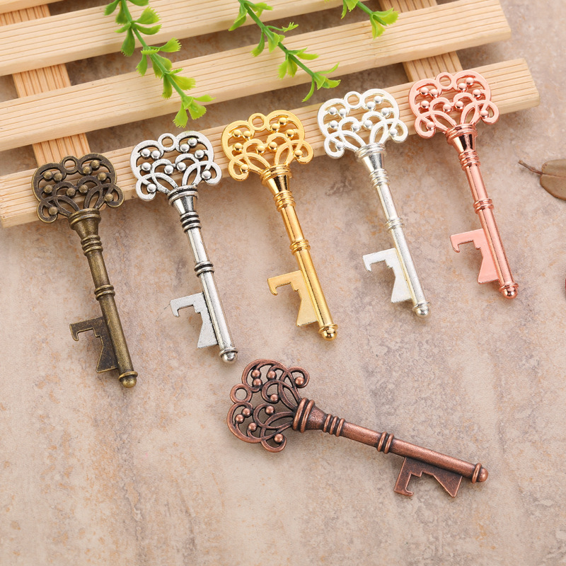 5pc Portable Key Bottle Opener Rose Gold Silver Retro Metal Keychain Hanging Ring Beer Opener Home Bar Tool Unique Creative Gift