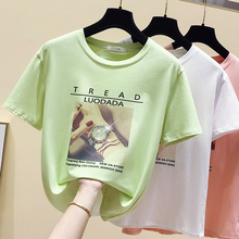 gkfnmt Cotton Tshirt Women Tops Sweet Pint Big Girls Short Sleeve Female T-shirt