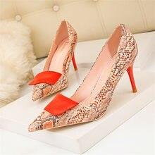 Chaussures de printemps Sexy pour femmes, motif serpent, chaussures à talons hauts, peu profondes, pointues, robe de boîte de nuit, chaussures simples pour femmes, 2021