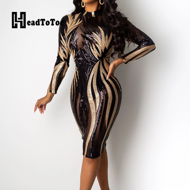 Glitter Mock Neck Long Sleeve Sequins Bodycon Dress Women Colorblock Sexy Skinny Party Dress 1