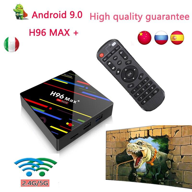 Boîtier TV android H96 MAX Plus 32GB 64GB 2.4G Wifi USB3.0 smart tv décodeur H96max + Rockchip RK3328 lecteur multimédia boîtier tv brésil