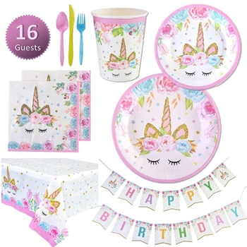 114pcs Unicorn Party Supplies Kids Birthday Decoration Disposable Tableware Set Paper Plates Cup Banner Baby Shower Girl Decor pink unicorn disposable tableware plates napkins cups banner birthday party baby shower wedding events decor supplies