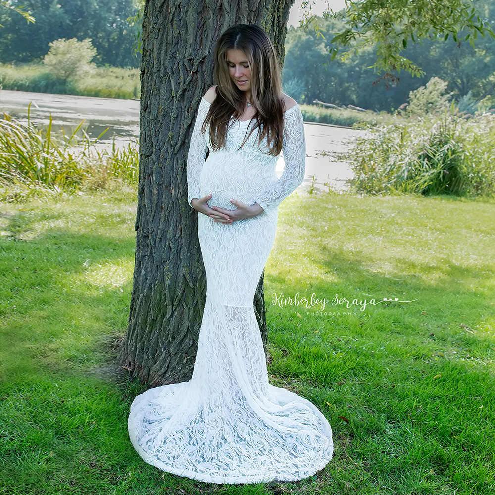 스트레치 레이스 출산 드레스 사진 소품 맥시 긴 소매 드레스 어깨 떨어져 임신 드레스 사진 액세서리