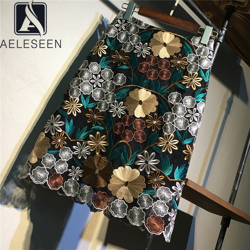 AELESEEN High-End Series 2020 Spring New Design Pencil Skirts Women Luxury Floral Embroidery Knee-Length Vintage Midi Skirt