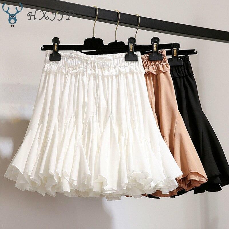 HXJJP White Black Chiffon Summer Shorts Skirt Women 2019 Fashion Korean High Waist Tutu Pleated Mini Sun School Skirt Female