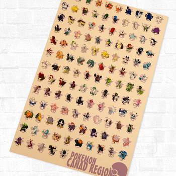 Collection 151 Pokemon Cartoon Anime Kids Vintage Poster Decorative DIY Wall Canvas Stickers Home Posters Art Bar Decor Gift 1