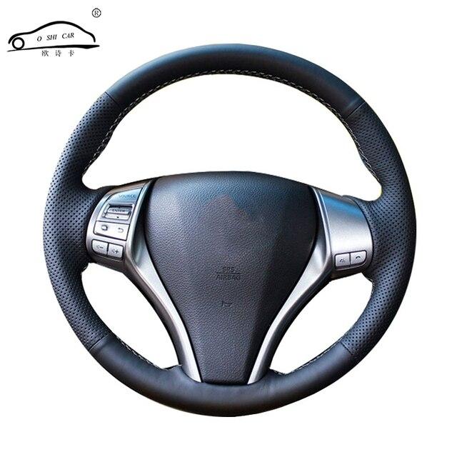 Suni deri araba direksiyon örgü Nissan Teana Altima 2013 2016 x trail QASHQAI Rogue /Custom made direksiyon kapağı