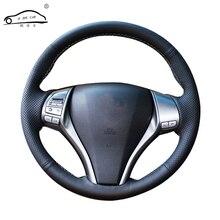 Volante em couro artificial para carro, trança para nissan teana altima 2013 2016 x trail qashqai rogue/personalizada tampa de direção feita