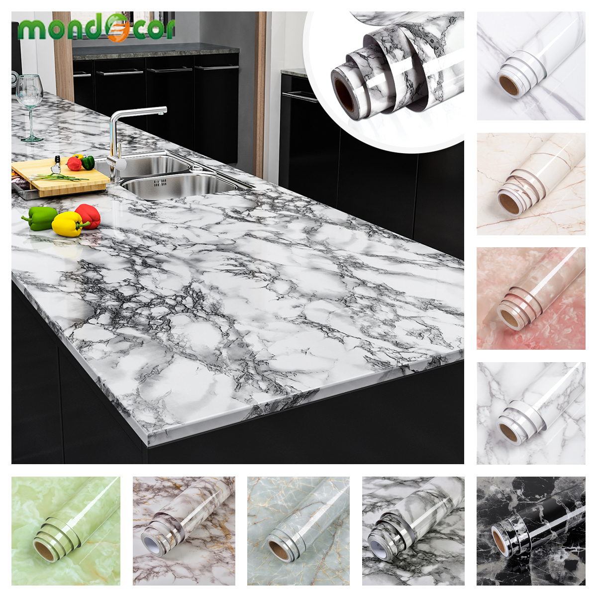 Marble Table Vinyl Wallpaper Self Adhesive Waterproof Wall Stickers for Bathroom Kitchen Furniture Renovation Removable Decals