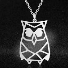 100% Real Stainless Steel Hollow Owl Necklace Unique Animal Jewelry Necklace Special Gift Super Quality Trend Jewelry Necklaces(China)