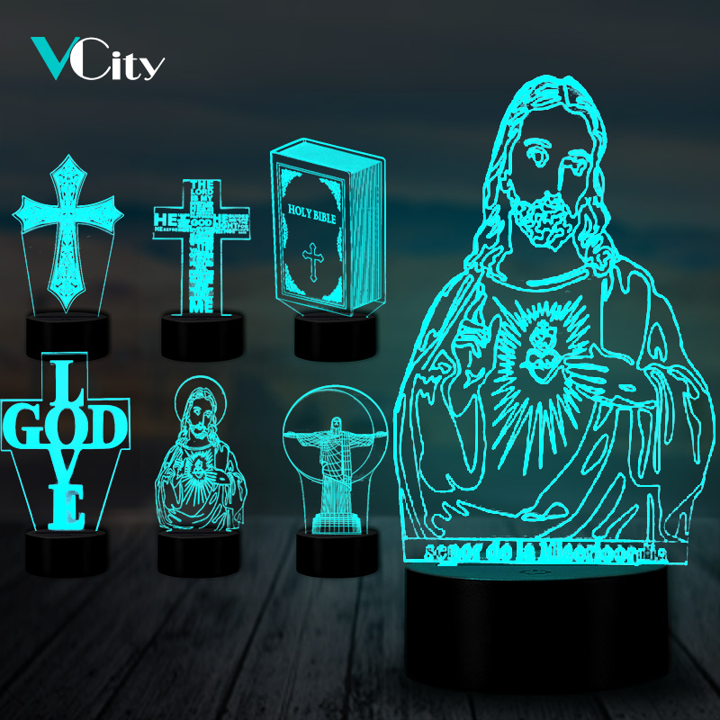 VCity Christian Series 3D Lamp Cross Jesus Bible Night Light Acrylic Plate Touch Remote Base Home Decor Holiday Gifts For Friend