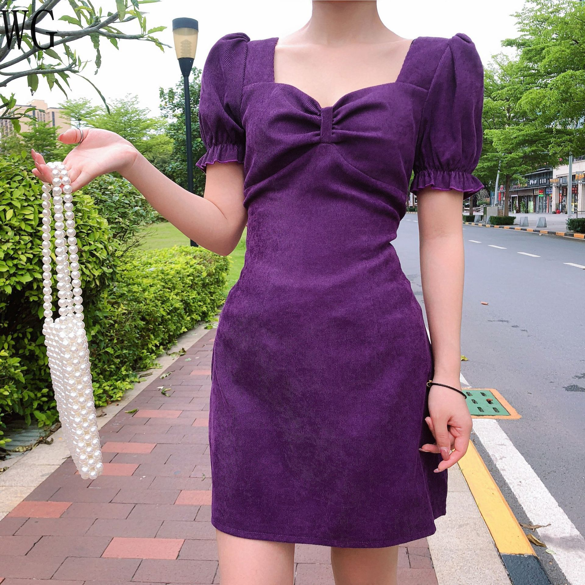 2020 Summer New Bandage Dress A-line Sexy Purple Bow Short Sleeve Dresses Women