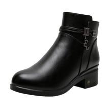 SAGACE/женские зимние ботинки; Теплая обувь; женские бархатные кожаные ботинки; ботильоны; удобные короткие ботинки
