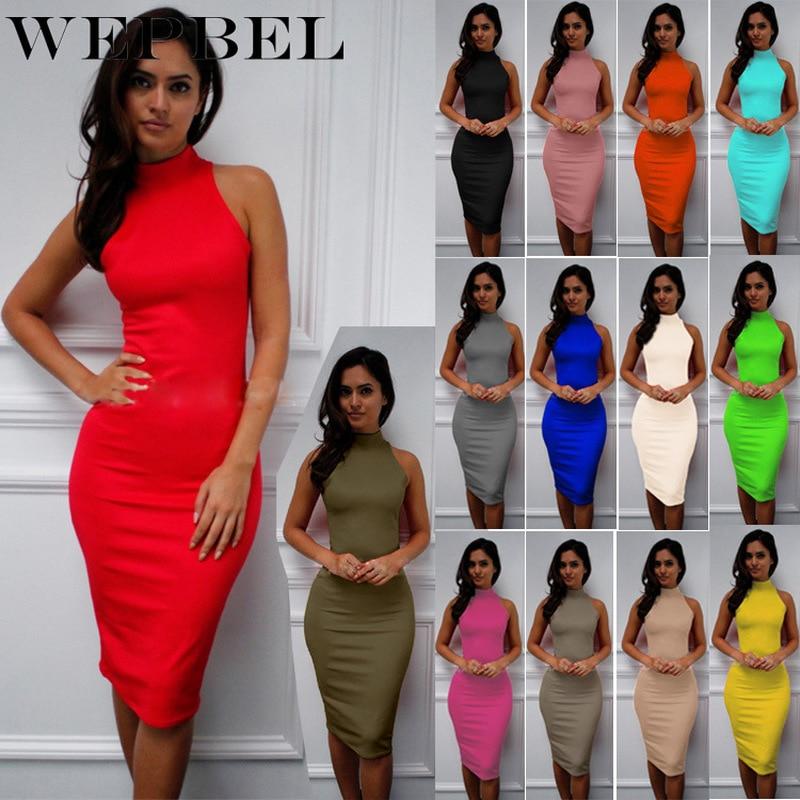 WEPBEL Sexy Slim Sleeveless High Stretchy Knee-length Dress Fashion Women High Collar Bodycon Dress Midi Dress Party Dress