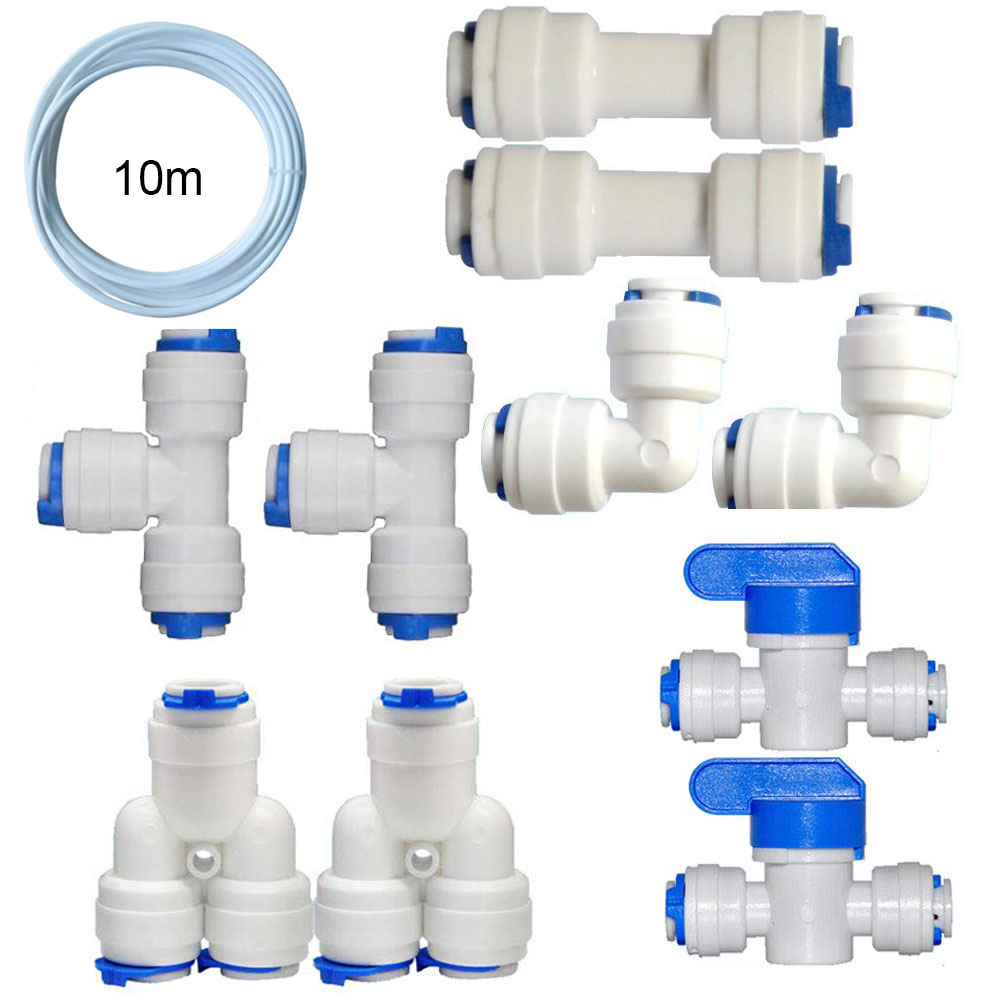 """1/4 """"quick Connect Pipe Fittings L Type T Type Y Type Straight Bend Tee RO Reverse Osmosis Pipe 50 Or 100 GPD Household Water Pu"""