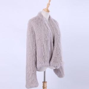 Image 3 - Вязаный кроличий мех кардиган, Жакет ручной работы, нестандартный воротник, вязаная верхняя одежда, жилет, 2020